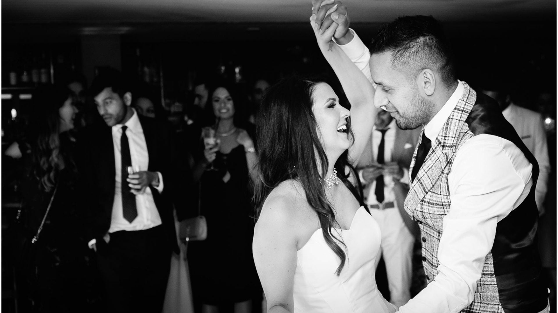 bride and groom dancing - black and white shot at king street townhouse