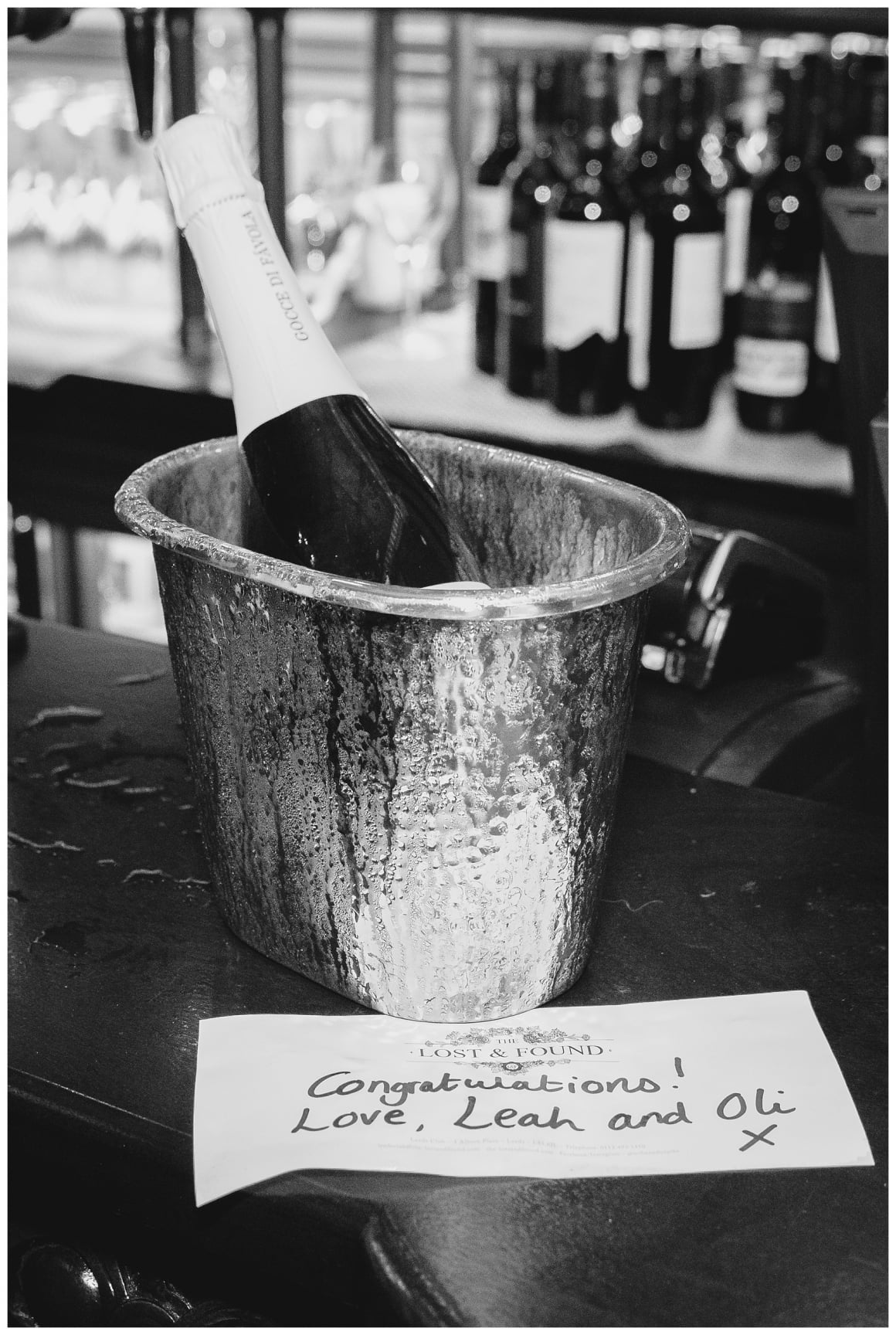 bucket of champagne on the bar at The lost & Found Leeds