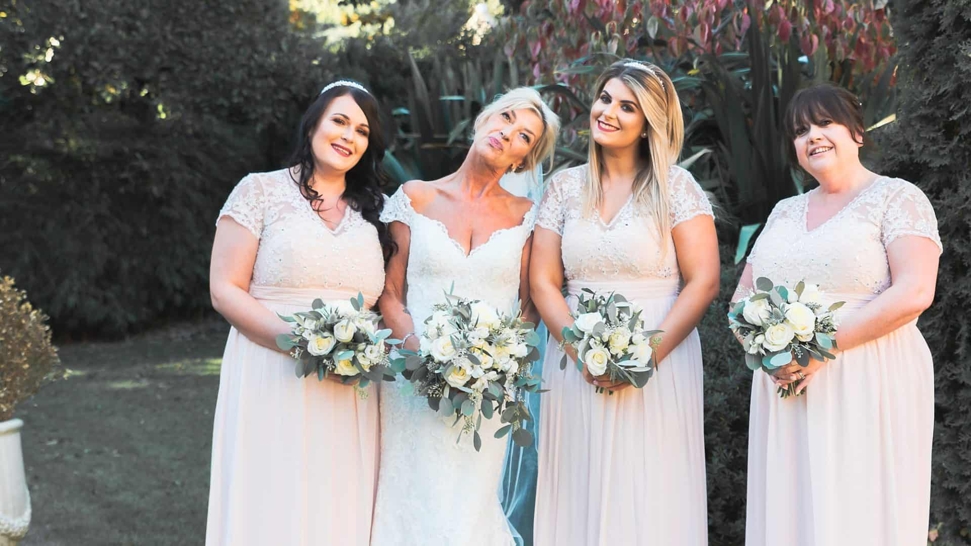 bride and bridesmaids at  whitley hall hotel