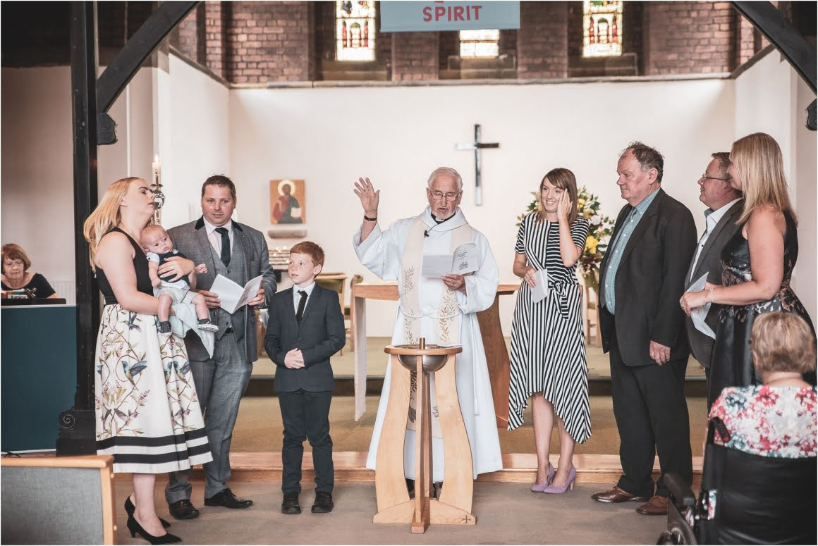 Harry's Christening at St Anne Wrenthorpe - family shot and god parents