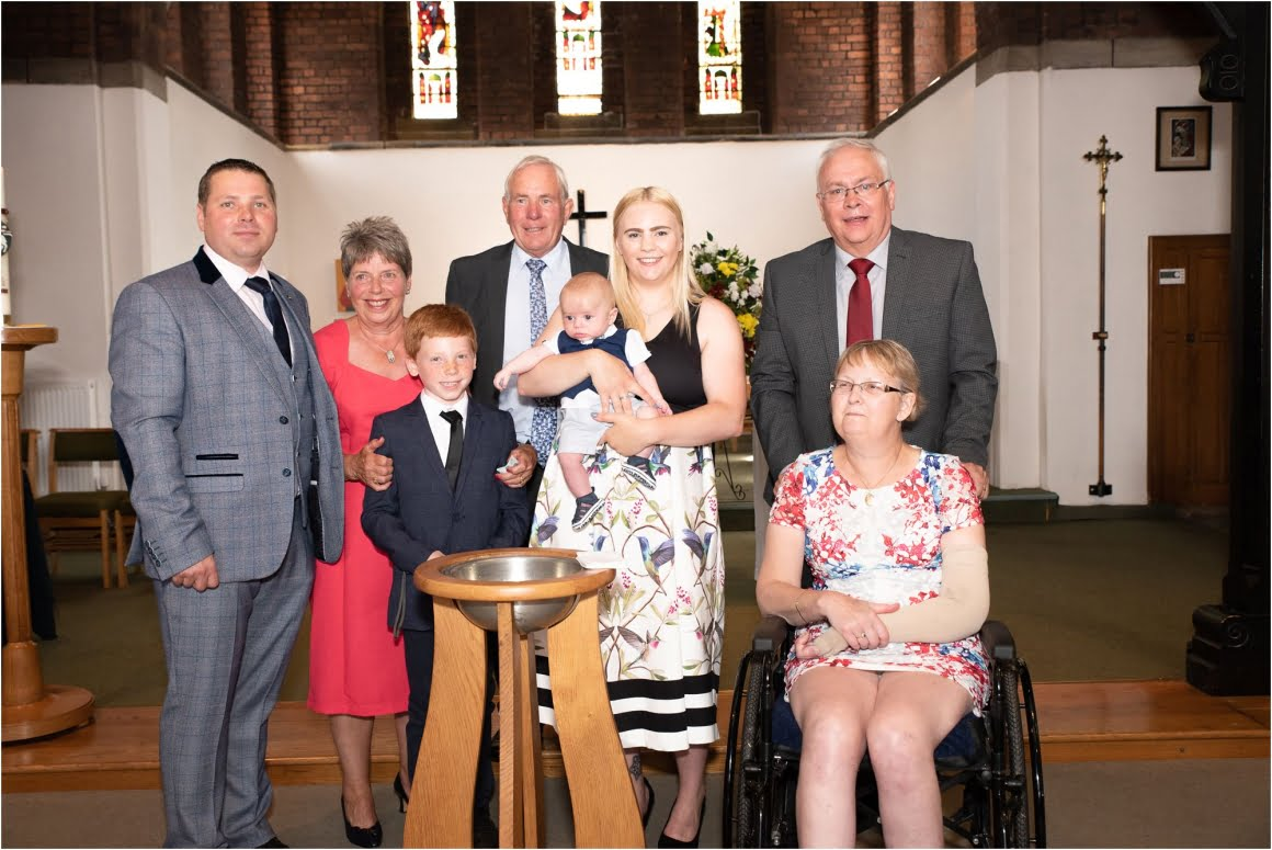 Harry's Christening at St Anne Wrenthorpe - group shot of the family