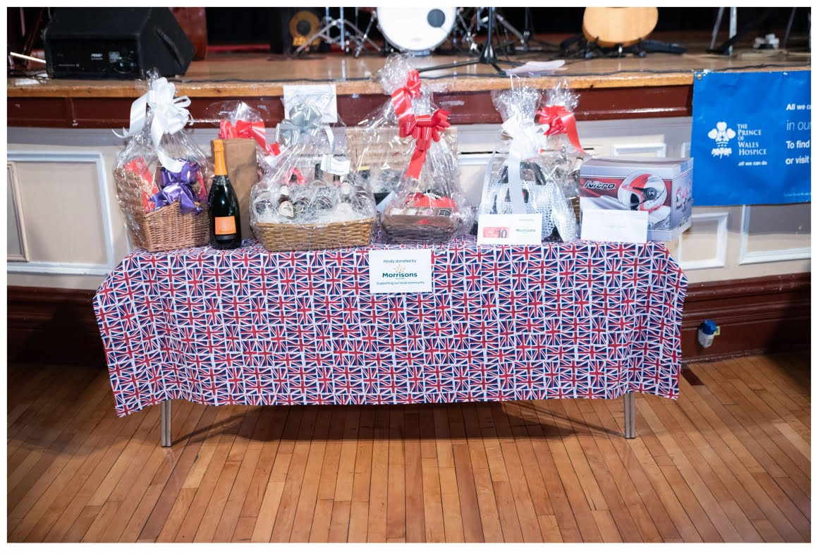 table of raffle prizes - supplied by morrison supermarket