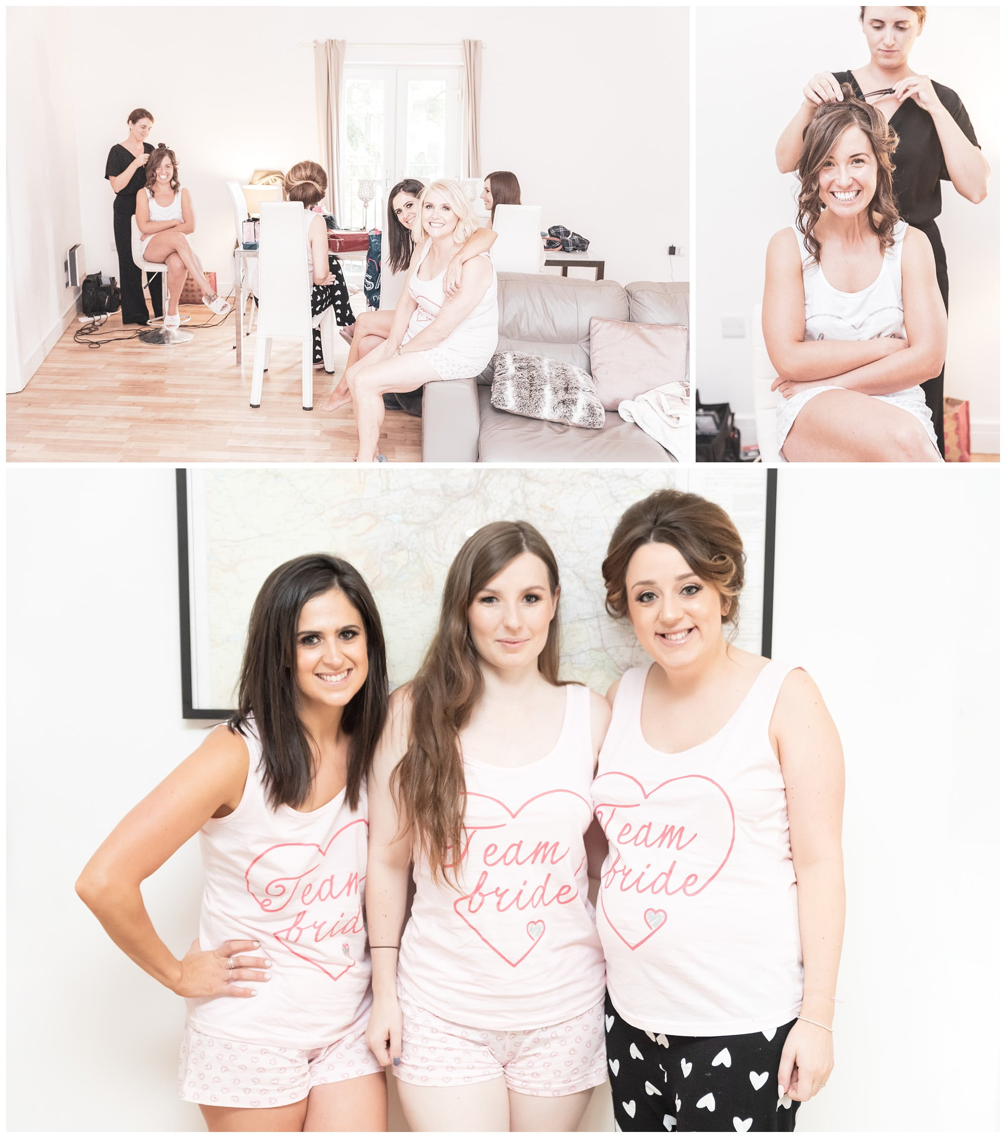 collage of images from the brides getting ready
