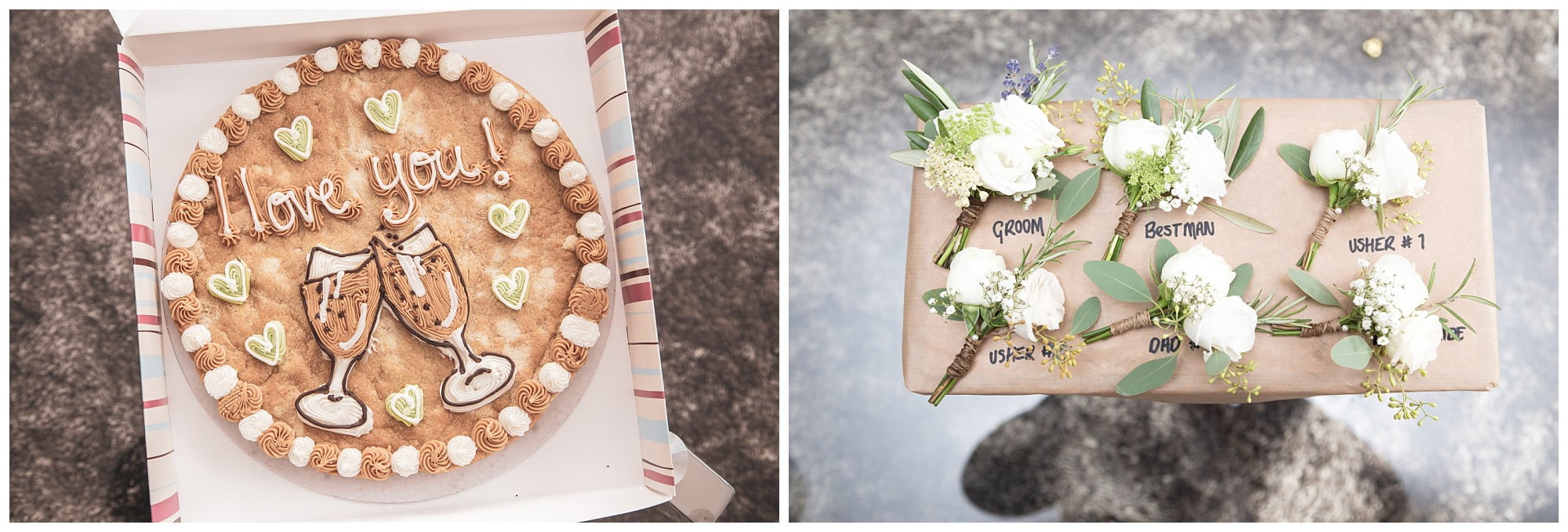 images of the flowers and a cookie saying I love you
