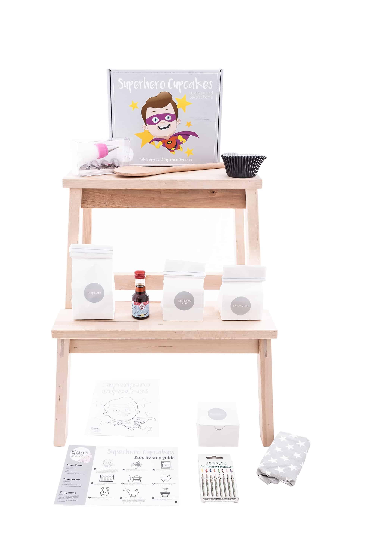 www.blossombakery.co.uk products i have photographed - superhero cake bake box full contens
