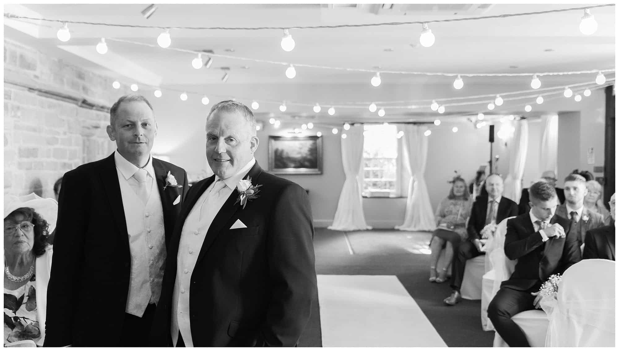 Whitley Hall Hotel Wedding - groom and best man waiting for service to start