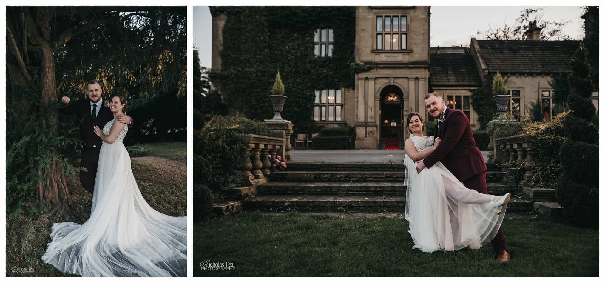 posed shot of the bride and groom in the gardens at Bagden Hall