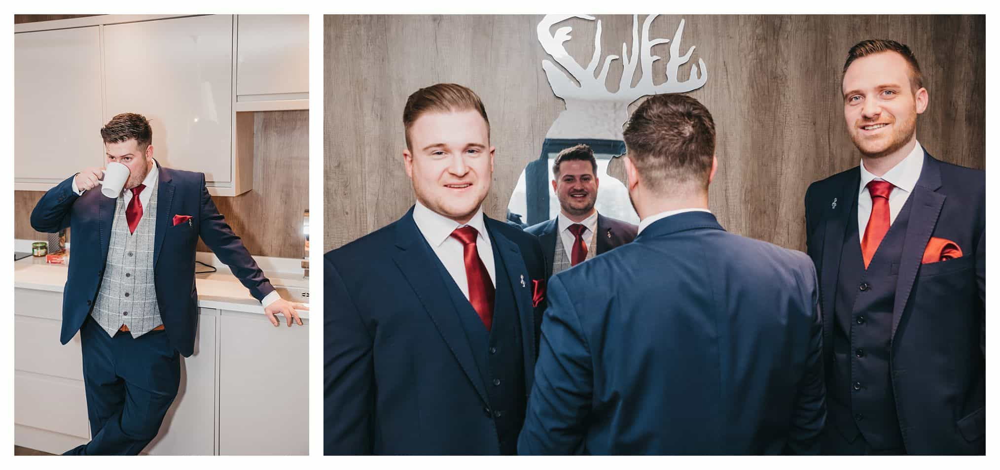 Picture of groomsmen looking in a mirror