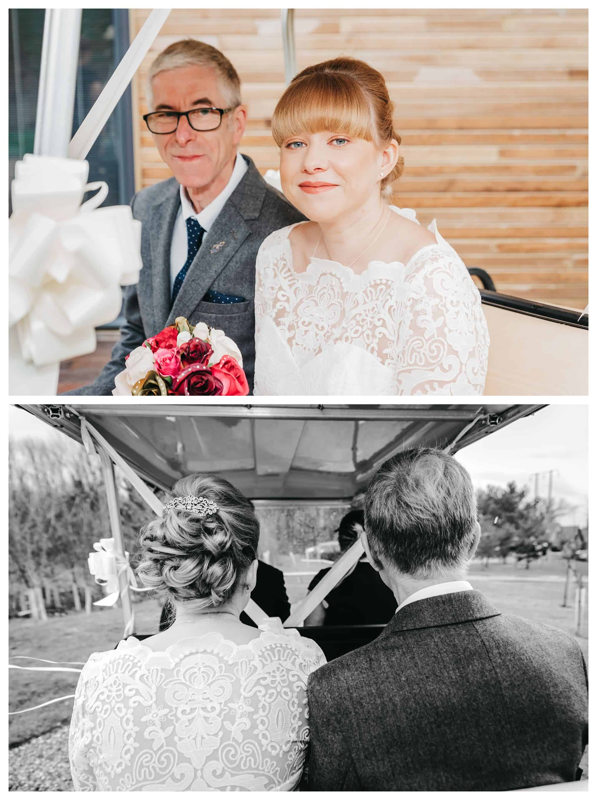 bride with her dad in golf buggy