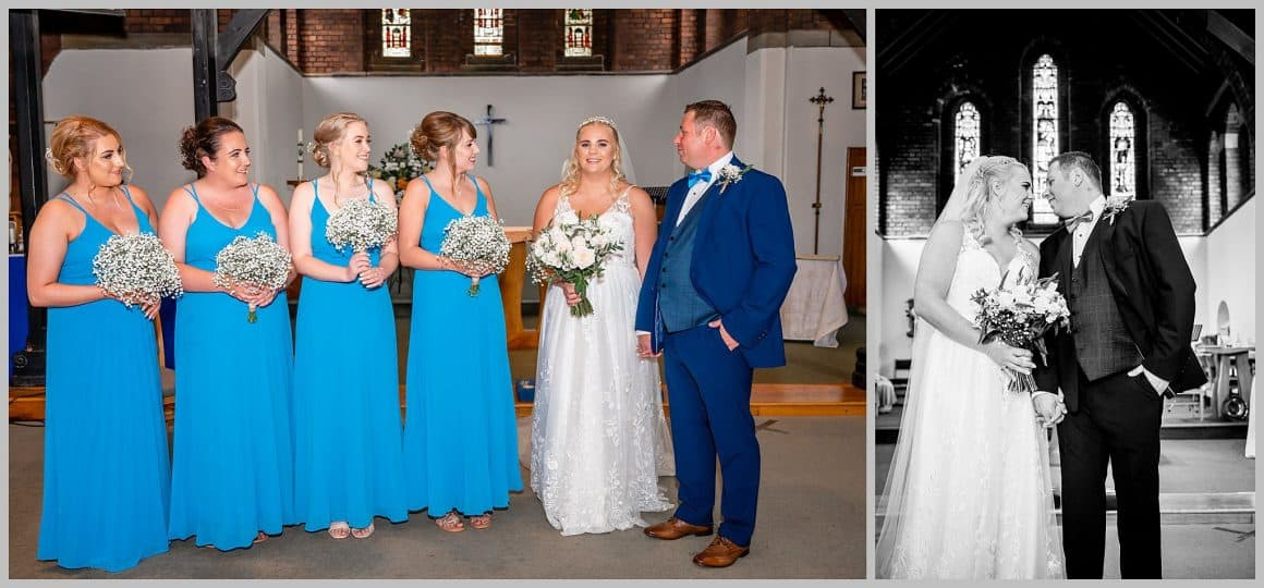 Birde groom and bridesmaids posing inside the church  ST. ANNE'S CHURCH WRENPHOPRE , Wakefield