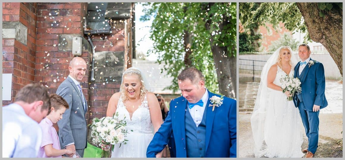Bride and Groom confetti shot  leaving the church at  ST. ANNE'S CHURCH WRENPHOPRE , Wakefield