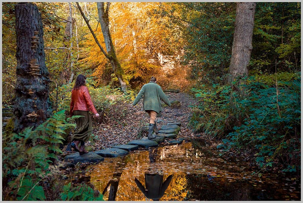 this image shows more stepping stones with my couple walking over the stepping stones at  Rivelin Valley sheffield