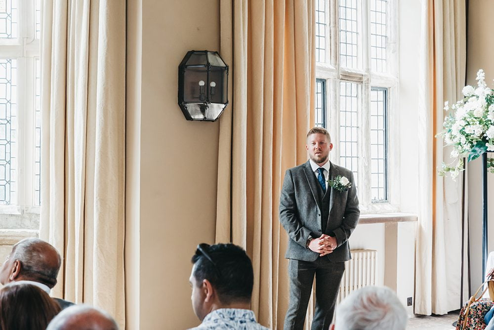 Groom waiting at alter photograph Fountains Hall Rippon, Fountains Hall Rippon Photos, Fountains Hall Wedding photographer