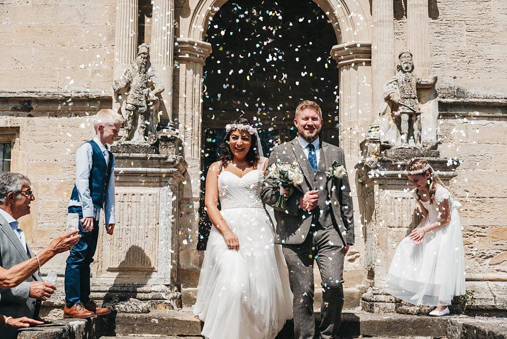 Confetti photograph Fountains Hall Rippon, Fountains Hall Rippon Photos, Fountains Hall Wedding photographer